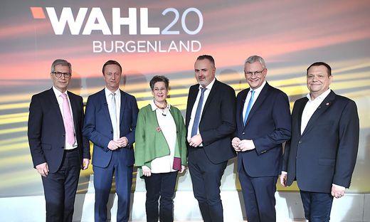 The top candidates for the Burgenland state election - Manfrd Kölly (LBL), Johannes Tschürtz (FPÖ), Regina Petrik (Greens) Hans Peter Doskozil (SPÖ), Thomas Steiner (ÖVP) and Eduard Posch (NEOS)