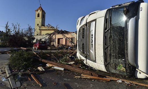 Tornado hit village Moravska Nova Ves and several other villages in the Breclav district, South Moravia, Czech Republic