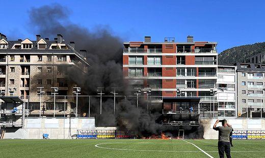 England Training - Estadi Nacional - Friday October 8th A fire breaks out at Estadi Nacional, Andorra. Preparations for