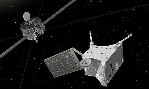 So wird es aussehen, wenn die beiden Sonden um Merkur kreisen