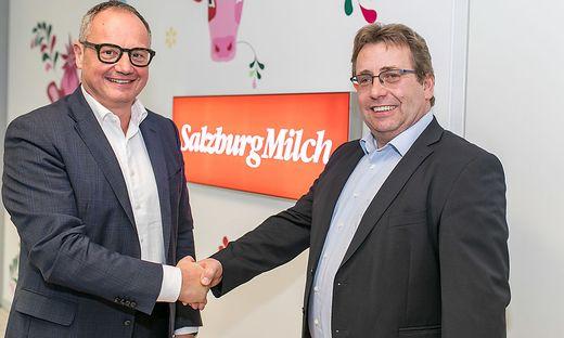 Matthias Oettel (links, Vorstand Consumer Products Meggle AG) und Robert Leitner (Aufsichtsratsvorsitzender SalzburgMilch)