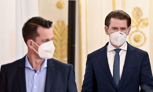 Gesundheitsminister Mückstein (links) übt Kritik an Kanzler Kurz