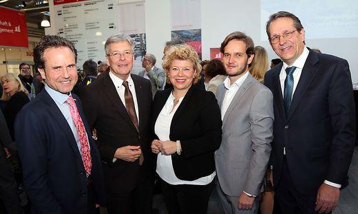 FH-Rektor Peter Granig, LH. Peter  Kaiser, Irene Hochstetter-Lackner, Christoph Herzeg, Gastgeber Dietmar Brodel (v. l.)