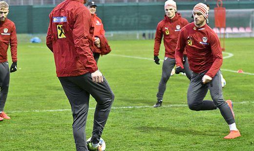 Marko Arnautovic (rechts) bereitet sich mit dem ÖFB-Team auf die EM-Qualifikation vor