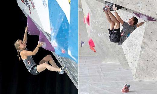 Haben Heimvorteil im Boulderama: Die Kärntner Athleten Mattea Pötzi (links) und Nicolai Uznik