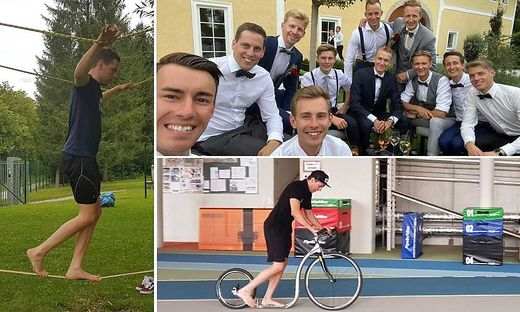 Müller auf der Slackline und beim Roller-Training. Die Nordischen unter sich: Kraft, Müller, Hayböck und Co. bei der Hochzeit von Kollege Schiffner