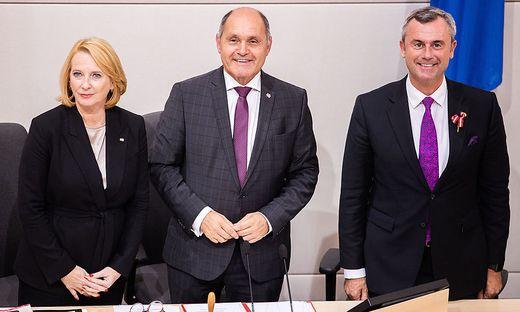 Die drei Nationalratspräsidenten Bures (SPÖ), Sobotka (ÖVP) und Hofer (FPÖ).