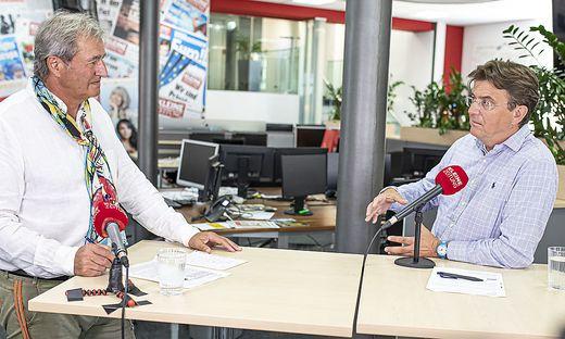 Eventprofi Hannes Jagerhofer (rechts) im Livestream mit Adolf Winkler, stellvertretendem Chefredakteur der Kleinen Zeitung