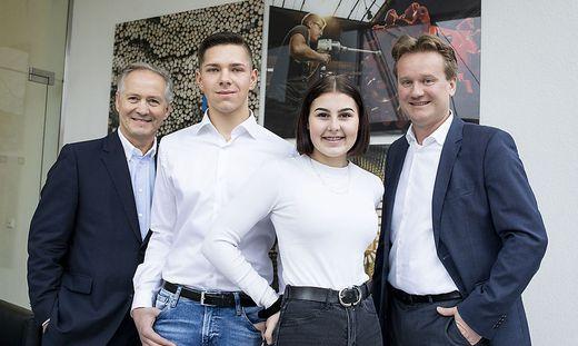 Max Oberhumer und Marcel Rohrbacher von Sappi, Georg Knill und Lilly Gutmann von der Knill Gruppe (Rosendahl))