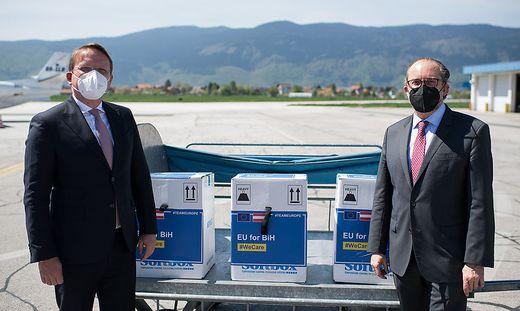 Außenminister Schallenberg und EU-Kommissar Varhelyi