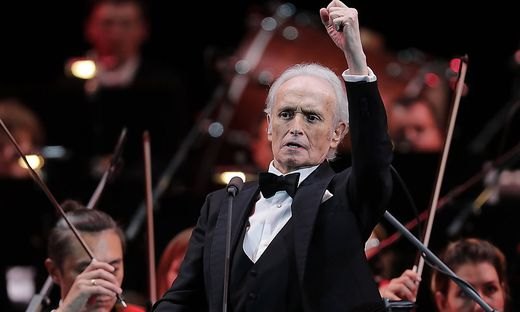 MOSCOW, RUSSIA - OCTOBER 1, 2019: Spanish tenor Jose Carreras performs during a concert accompanied by the Moscow City