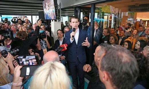 ÖVP-Bundesparteiobmann Sebastian Kurz anl. eines Statements in der Politischen Akademie in Wien