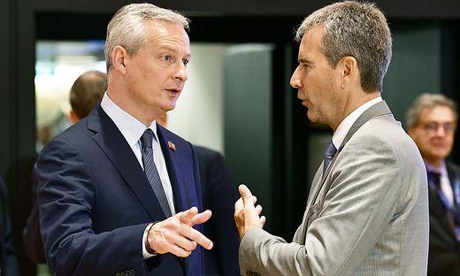 Bruno Le Maire, Finanzminister Frankreichs, mit Hartwig Löger, Finanzminister Österreichs