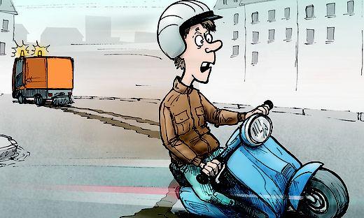Der Mopedfahrer half mit, den verschmutzten Straßenabschnitt abzusichern, dennoch wurde ihm eine Strafe wegen Fahrerflucht aufgebrummt!
