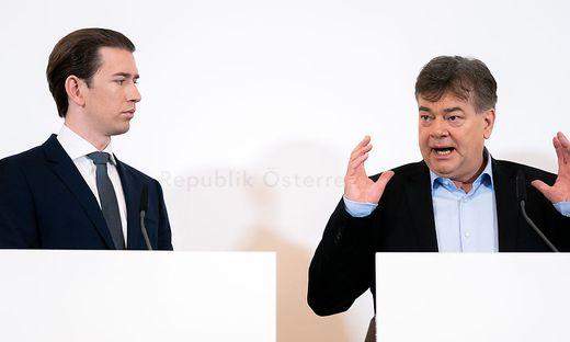 Pressekonferenz nach dem Ministerrat: Kanzler Sebastian Kurz (ÖVP) und Vize Werner Kogler (Grüne)