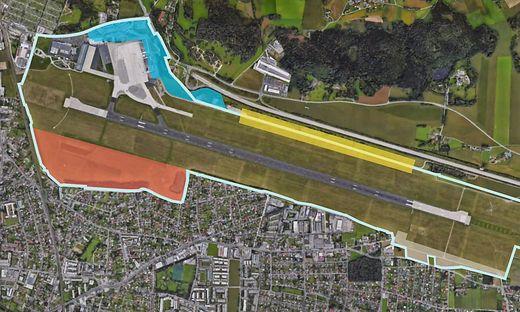 Der neue Flughafenkomplex soll hier entstehen (blaue Fläche), im Süden der TecPark (rote Fläche, nördlich und südlich der Landebahn der Gewerbe- und Logistikpark (gelb, beige)