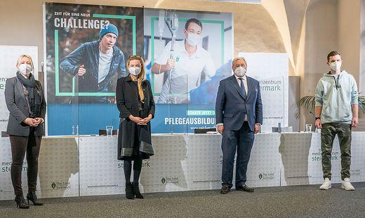 Eveline Brandstätter, Juliane Bogner-Strauß, Karlheinz Tscheliessnigg und Lukas Rumpold