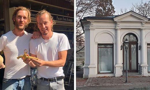 Dominic Flik (l.) und Philipp Mayr machen den Pavillon zum Lokal