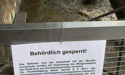 Einmal mehr musste die Grazer Murpromenade gesperrt werden (Symbolfoto)