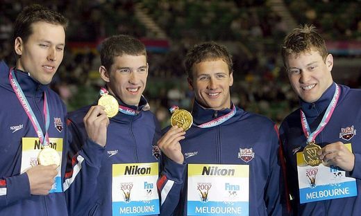 Klete Keller mit Michael Phelps, Ryan Lochte and Peter Vanderkaay