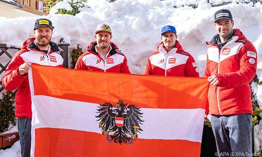 Christian Walder, Max Franz, Matthias Mayer und Vincent Kriechmayr (von links)