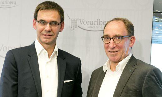 Im Ländle ist grüne Politik kein Feigenblatt: Markus Wallner (ÖVP) und Johannes Rauch bei der Vorstellung ihres Regierungsprogrammes