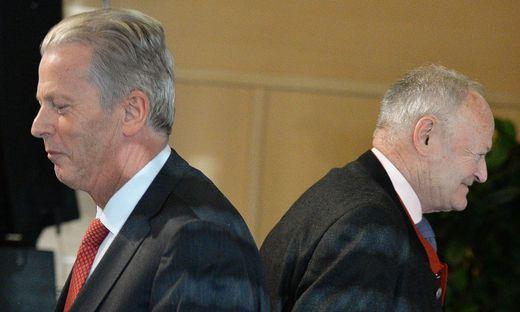Bessere Zeiten: Reinhold Mitterlehner, damals ÖVP-Chef, und Andreas Khol, Bundespräsidentschafts-Kandidat