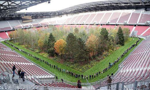 """Mitte Oktober wurde auf dem Rollrasen eine """"For Forest""""-Menschenkette gebildet"""