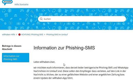 Willhaben warnt vor Phishing-SMS