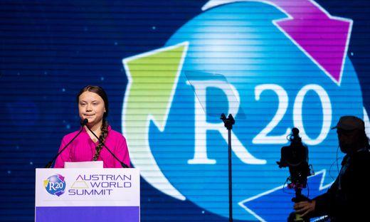 Greta Thunberg bei ihrer Rede in Wien