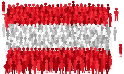 Vector Austria state flag formed by crowd of cartoon people