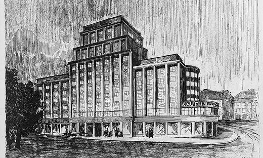 Hochhauspläne aus der Zwischenkriegszeit für das Warenhaus Scheiner am Jakominiplatz