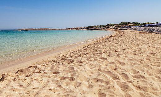 Beautiful landscape near of Nissi beach in Ayia Napa, Cyprus island, Mediterranean Sea. Amazing blue green sea and sunny day.