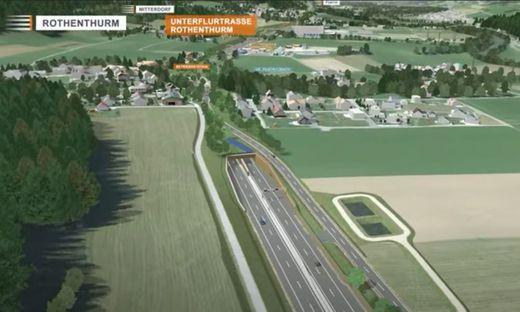 Ein Modell des geplanten Schnellstraßenausbaus im Bereich Rothenthurm