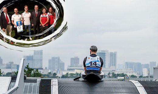 Traumkulisse: Oschmautz auf der Startrampe der Olympiastrecke in Tokio. Bundespräsident Alexander Van der Bellen inmitten der erfolgreichen Kanuten (links oben)