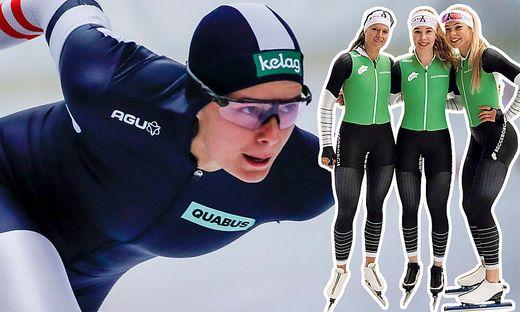Gute Laune vor dem Weltcup-Auftakt: Vanessa Herzog mit ihren Reggeborgh-Teamkolleginnen Michele de Jong (Mitte) und Jutta Leerdam (re.)