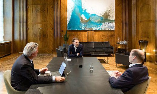 """Sebastian Kurz im historischen Kanzlerzimmer mit Thomas Götz und Hubert Patterer: """"Der schlimmste Moment war der Einstieg in die Spitzenpolitik"""""""