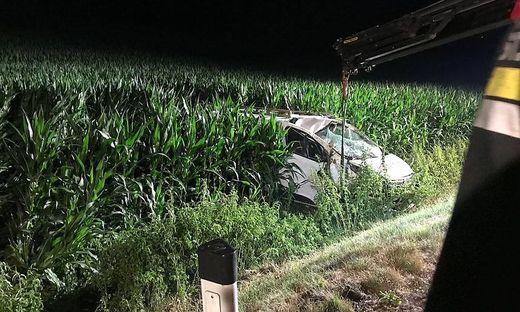 Der Unfalllenker kam von der Straße ab und landete im Maisacker