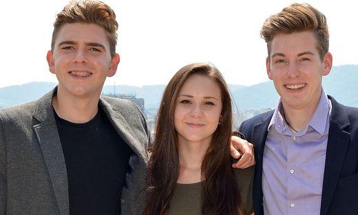 Die neuen Landesschulsprecher in der Steiermark: Alexander Mohr (AHS), Katharina Pregartner (BS), Ernst Treffler (BMHS)