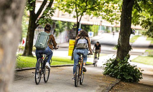 Sujet Fahrrad Fahrradfahrer Fahrradstraße Fahrradweg Klagenfurt Juni 2020