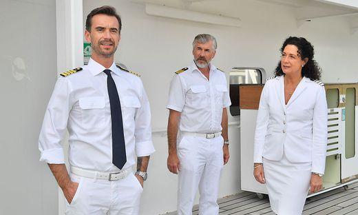 Am Traumschiff: Barbara Wussow mit Florian Silbereisen und Daniel Morgenroth