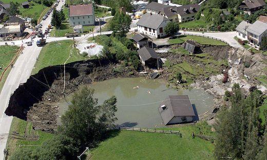 Der eingestürzte Bergwerksstollen in Lassing