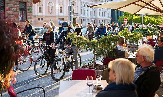 Fahrrad-Proteste in Laibach