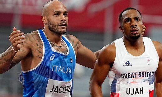 Marcel Jacobs (links) und Chijindu Ujah