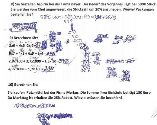 Ein Beispiel aus einem Lehrlingstest
