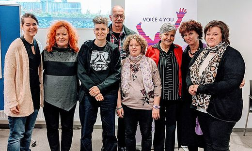 """""""Voice 4 You"""": Lukić, Scheiflinger, Unterkofler, Bedronka, Schöffmann, Guggenberger, Scherling und Fercher (von links)"""