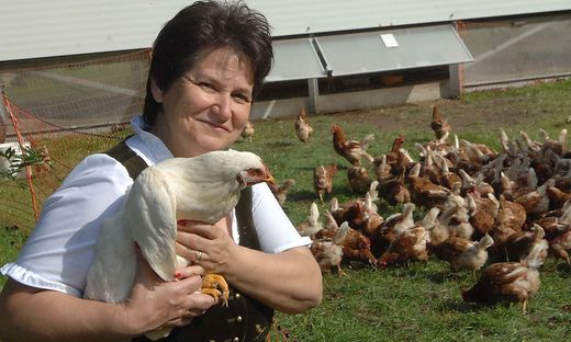 Monika Lerchbaumer mit ihren Hühnern auf der Wiese