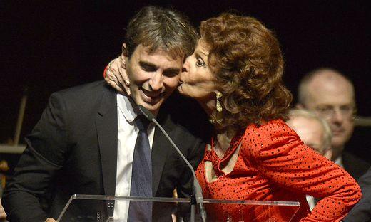 Sophia Loren mit ihrem Sohn Carlo Ponti