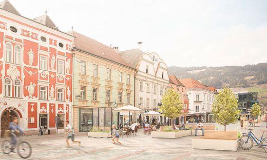 leoben, hauptplatz, mobile begruenung, rendering
