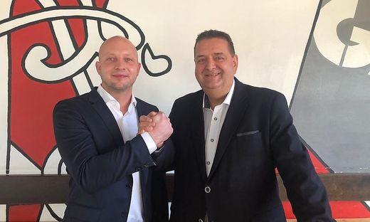 Der neue Obmann Rene Ziesler (links) und sein Vorgänger Harald Rannegger